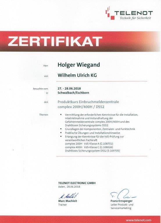 HW Zertifikat Telenot Complex 18-07